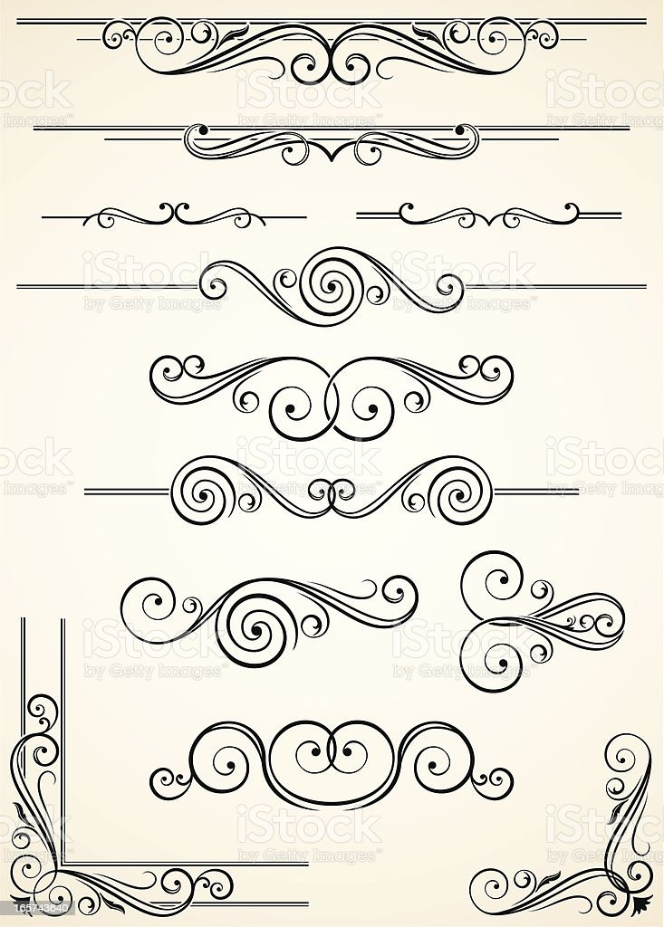 A variety of swirly and decorative dividers and corners royalty-free stock vector art