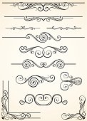 A variety of swirly and decorative dividers and corners