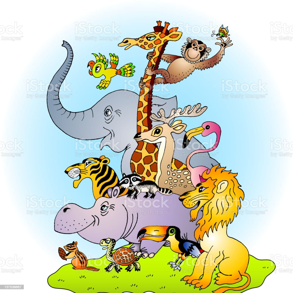 Variety of Various Exotic Zoo Animals Posing royalty-free variety of various exotic zoo animals posing stock vector art & more images of animal
