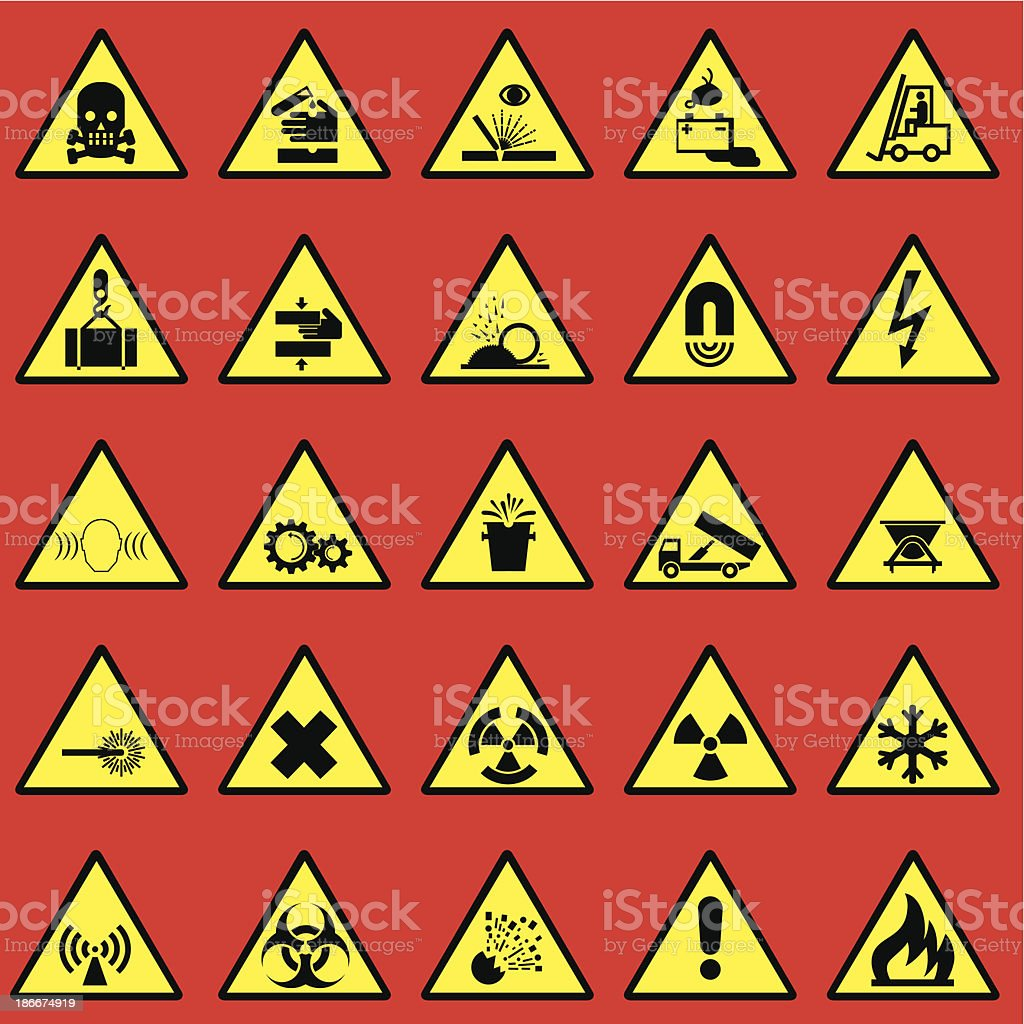 Variety of warning signs in red, yellow, and black vector art illustration