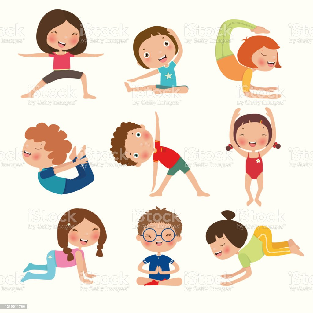 Variety Of Yoga Kids Yoga Poses For Children In Flat Style Gymnastics And Healthy Vector Illustration Stock Illustration Download Image Now Istock