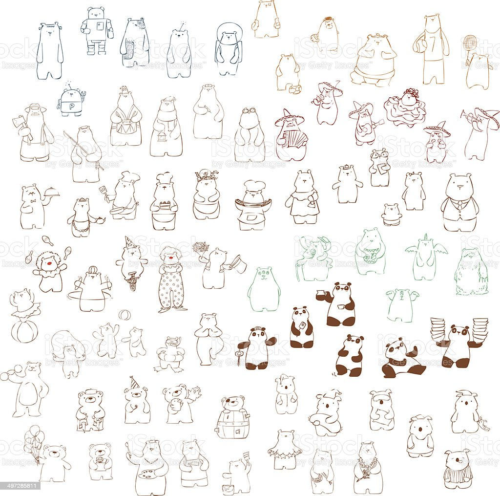 variety sketch bears pack illustration vector art illustration