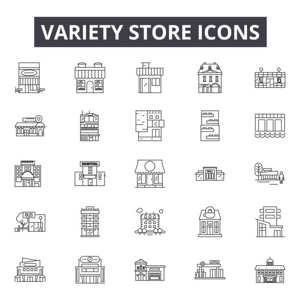 Variety store line icons for web and mobile design. Editable stroke signs. Variety store  outline concept illustrations Variety store line icons for web and mobile. Editable stroke signs. Variety store  outline concept illustrations grocery aisle stock illustrations