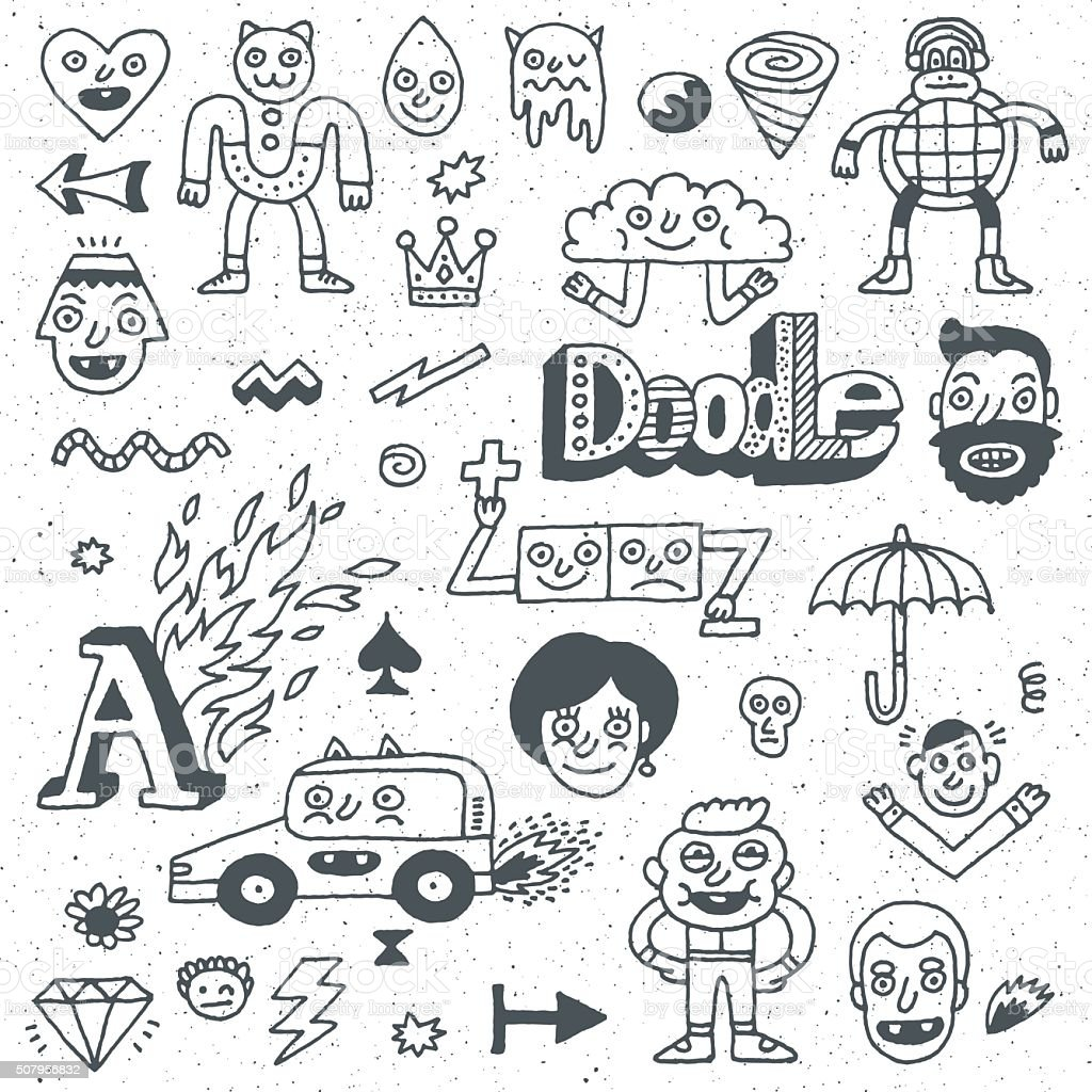 Various Abstract Funny Characters. Wacky Doodle Set 2. vector art illustration