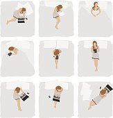 Various action of woman in bedroomhttp://www.twodozendesign.info/i/1.png