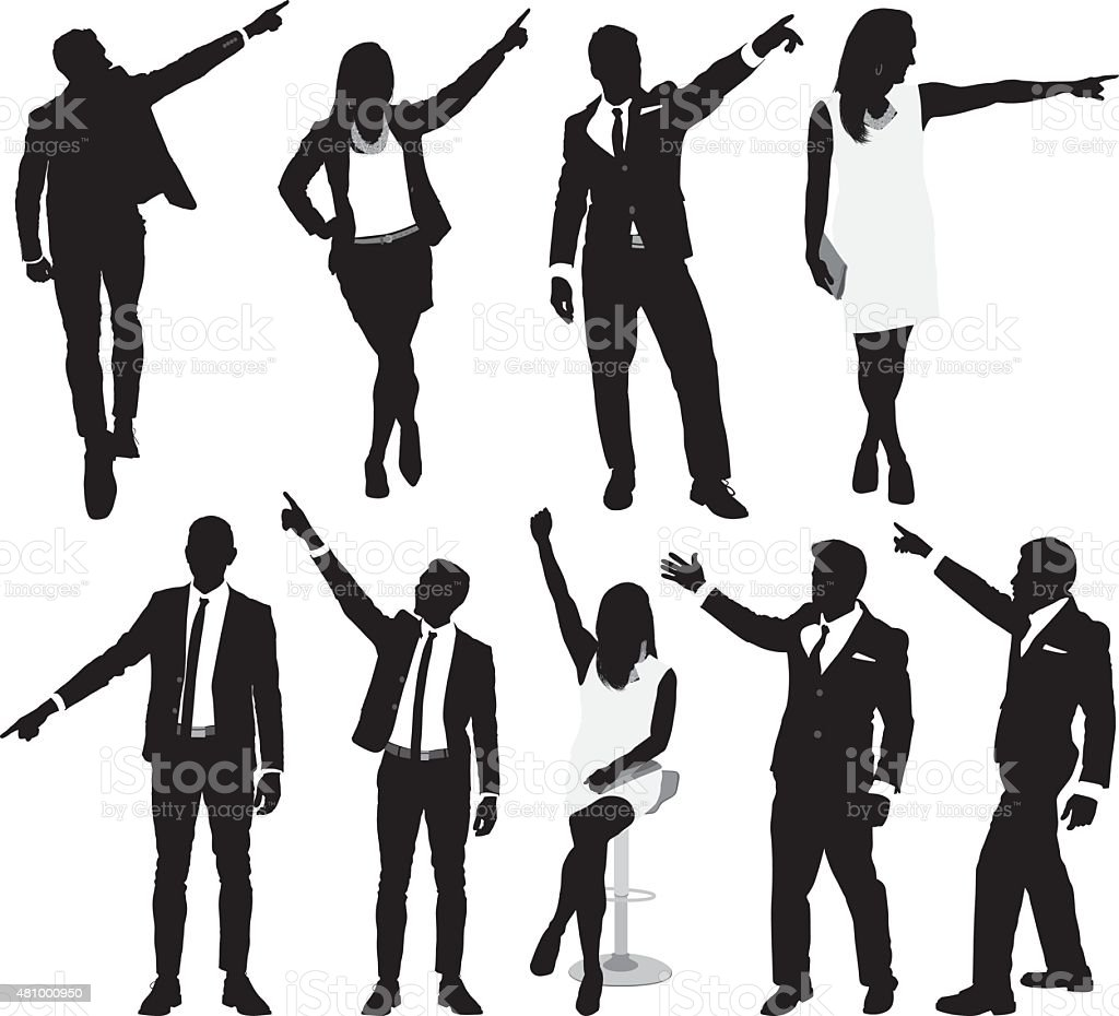 Various actions of businesspeople vector art illustration