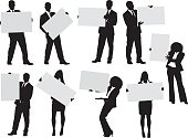 Various actions of businesspeople with placardhttp://www.twodozendesign.info/i/1.png
