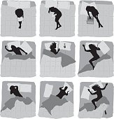 Various actions of female on bed