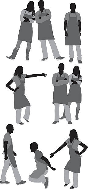 Various actions of people in apron Various actions of people in apronhttp://www.twodozendesign.info/i/1.png apron isolated stock illustrations