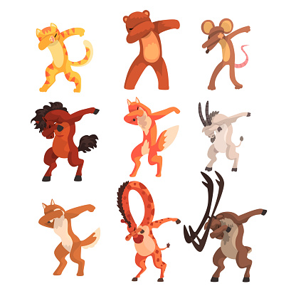 Various animals standing in dub dancing poses set, cute cartoon wild animals doing dubbing vector Illustration on a white background