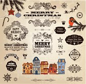 Hand drawn Christmas and New Year labels and elements