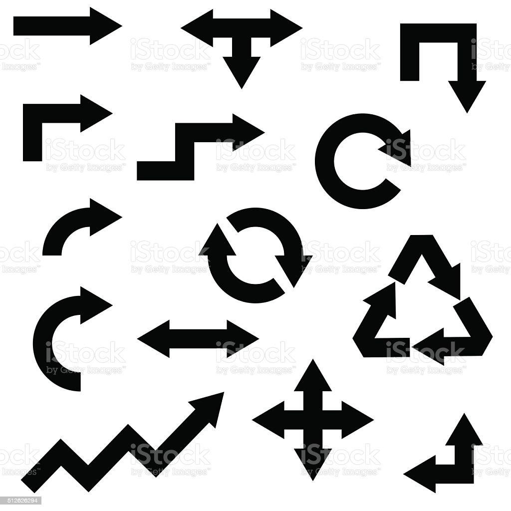 various arrow set isolated on white background. Vector illustrat向量藝術插圖