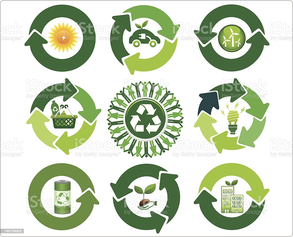 various arrows with green symbols and recycle icon royalty-free stock vector art