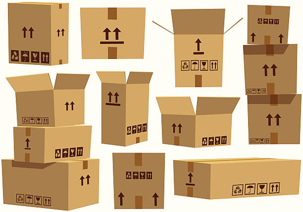 Various assorted cardboard boxes An assorted selection of cardboard boxes, some open, some taped up, some in stacks. They are all isolated from each other and completely movable. cardboard box stock illustrations