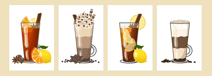 Various autumn winter hot drinks - lemon tea, rum punch, hot chocolate, latte coffee in tall glasses. Vector illustration of four cards