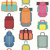 Various Bag types. Pixel art. Seamless pattern.