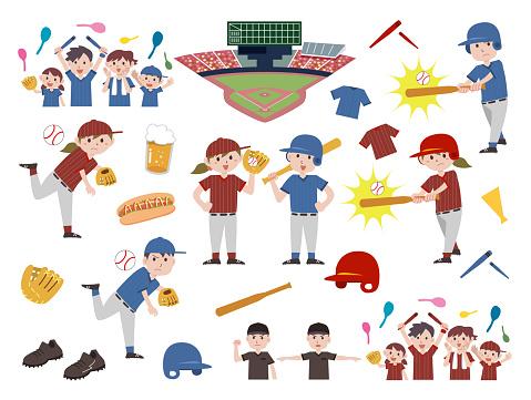 Various baseball material sets