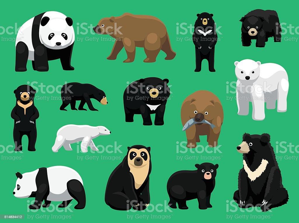 Verschiedene Bären Comic Vektorillustration Stock Vektor Art und ...