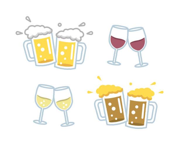 bildbanksillustrationer, clip art samt tecknat material och ikoner med olika ölsorter och viner - vitt vin glas
