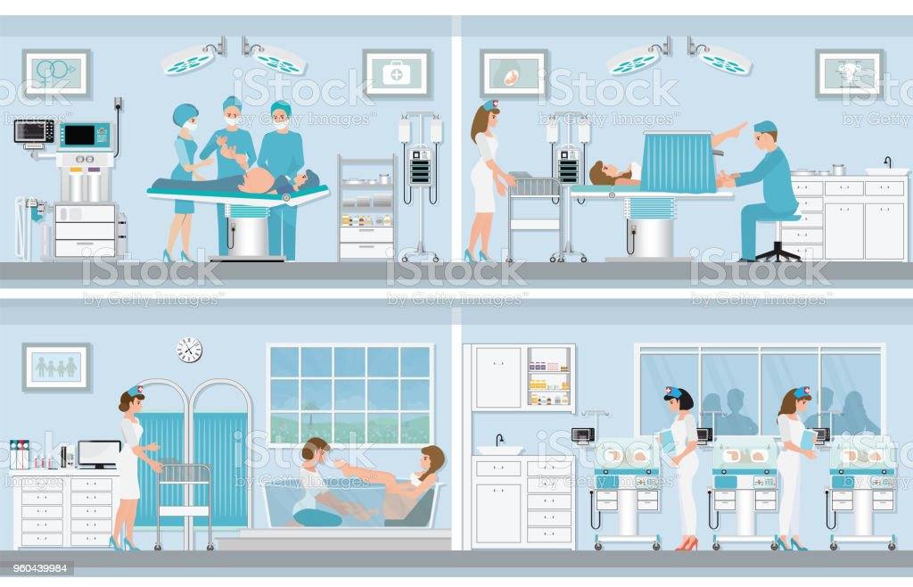 Various birthing of pregnant woman. vector art illustration