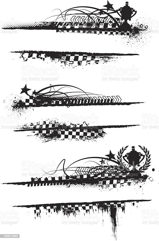 Various black and white checkered banners royalty-free stock vector art