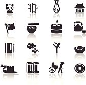 Various black and white Chinese icons