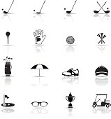 Various Black and white golf icons