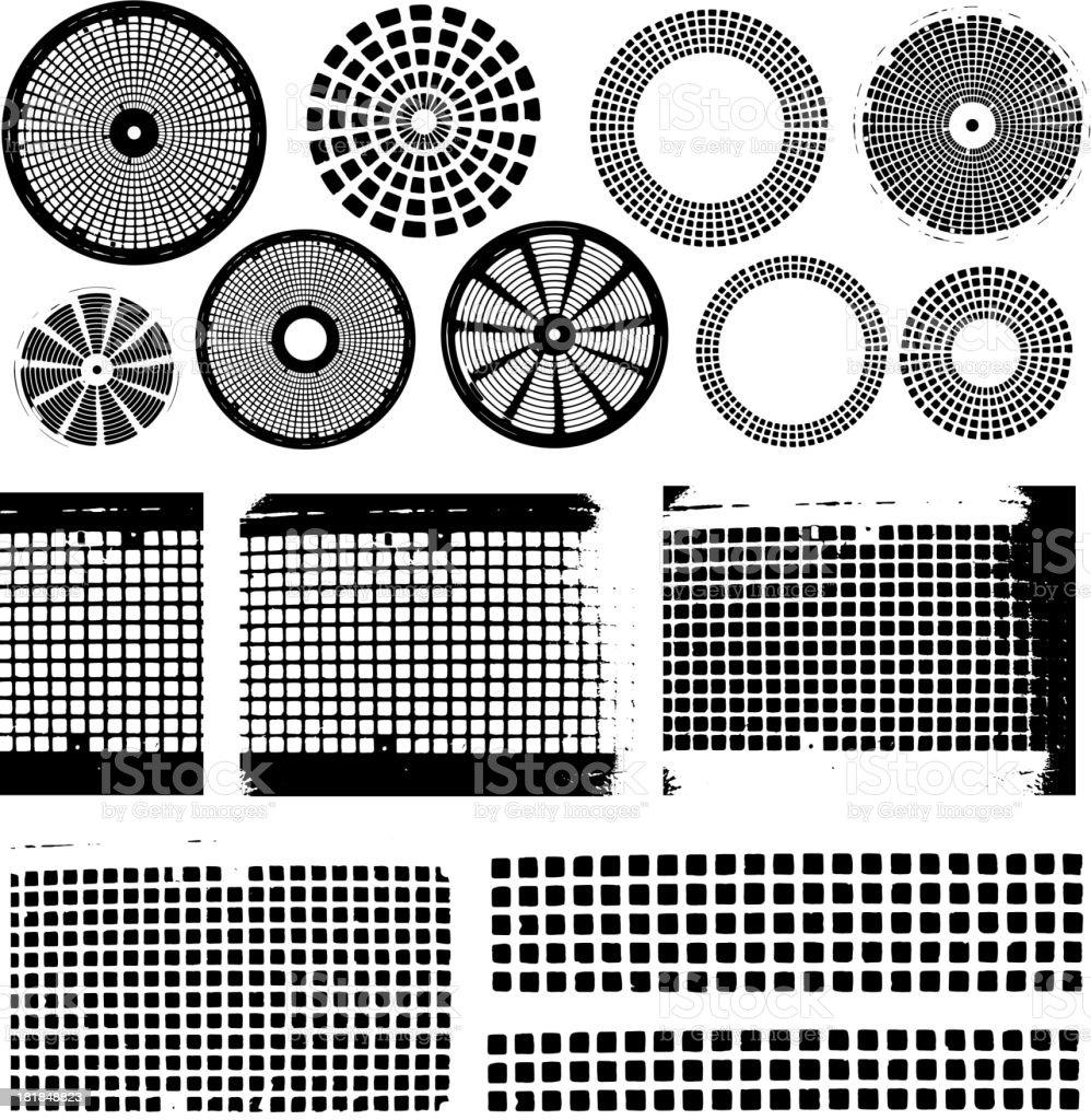 Various Black and White Grunge Shapes vector art illustration