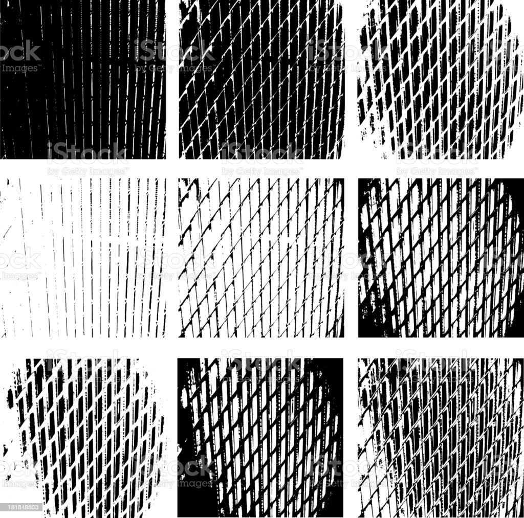 Various Black and White Grunge Texture vector art illustration