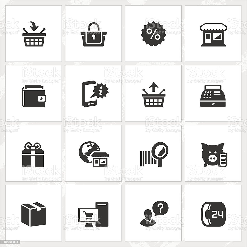 Various black and white shopping icons vector art illustration