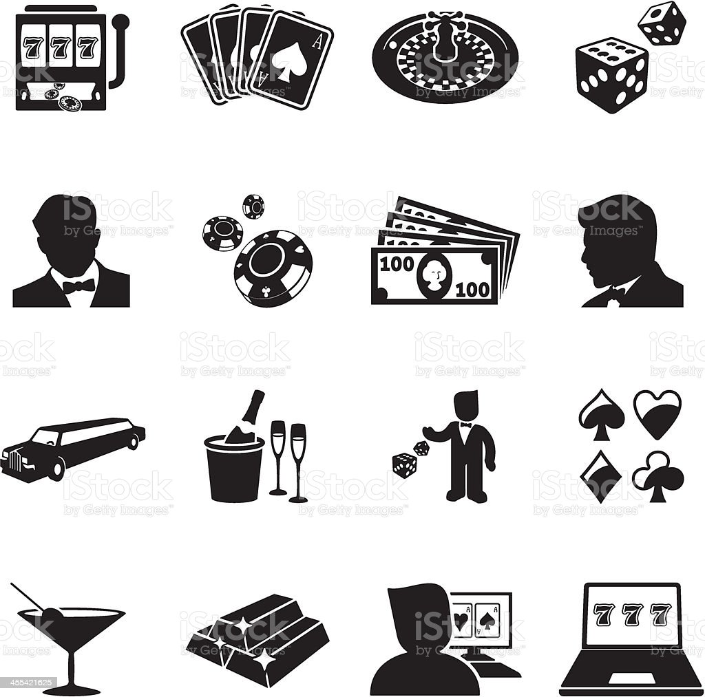 Various black and white vintage casino icons royalty-free stock vector art