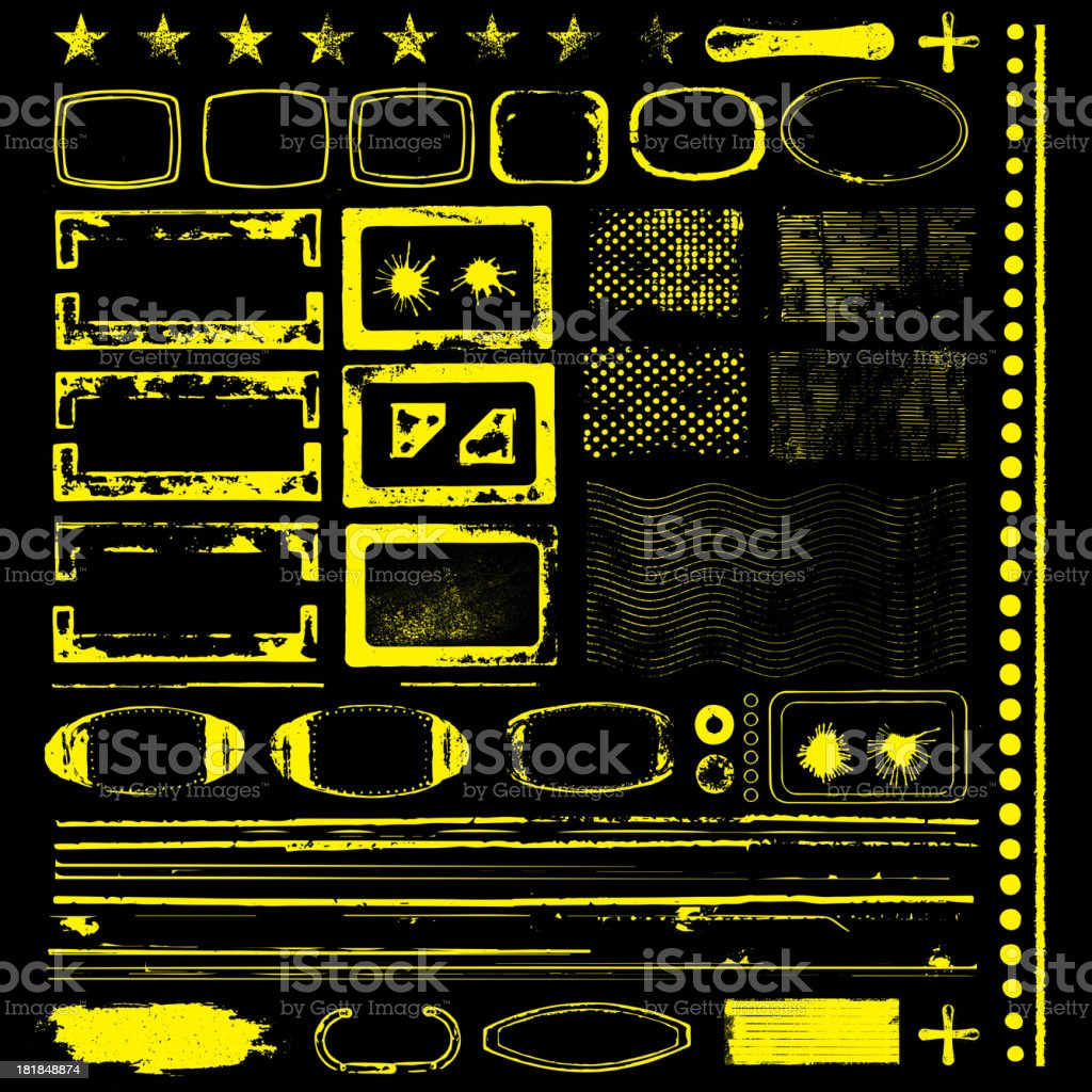 Various Black and Yellow Grunge Shapes royalty-free stock vector art