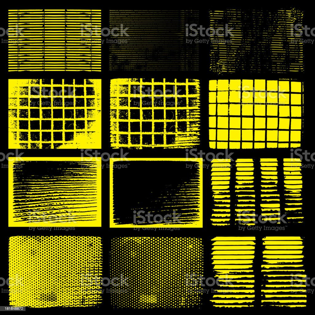 Various Black and Yellow Grunge Texture royalty-free stock vector art