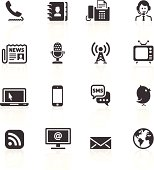 Various black communication icons