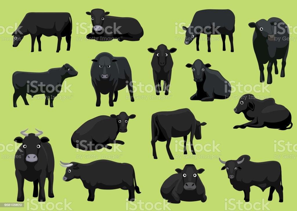 Various Black Cow Bull Cartoon Vector Illustration vector art illustration