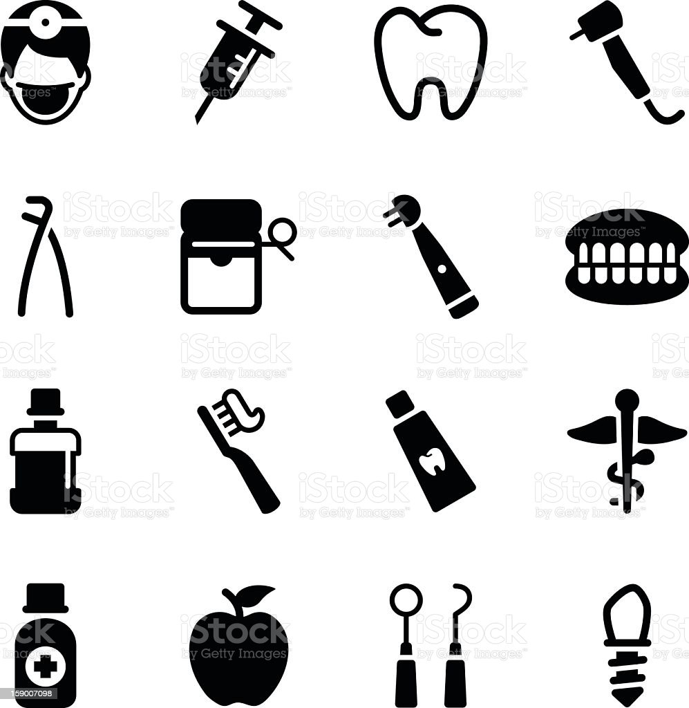 Various black dental icons on a white background vector art illustration