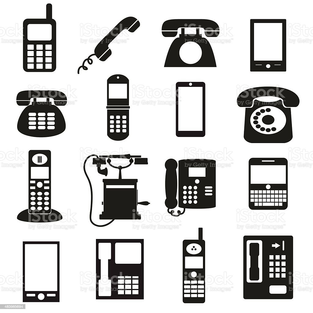various black phone symbols and icons set eps10 vector art illustration