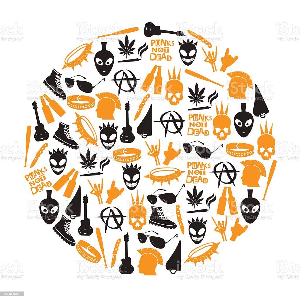 various black punk icons set in circle eps10 vector art illustration