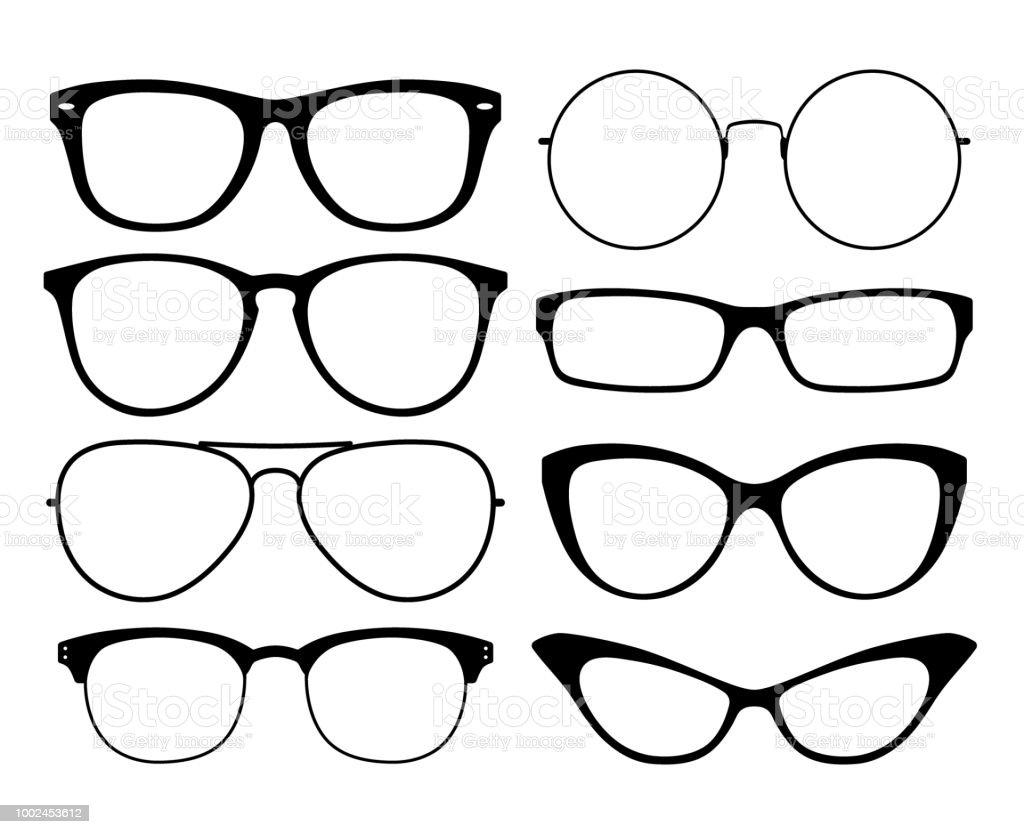 af4d083e64e Various black silhouete glasses. Eyeglasses frames set. royalty-free  various black silhouete glasses