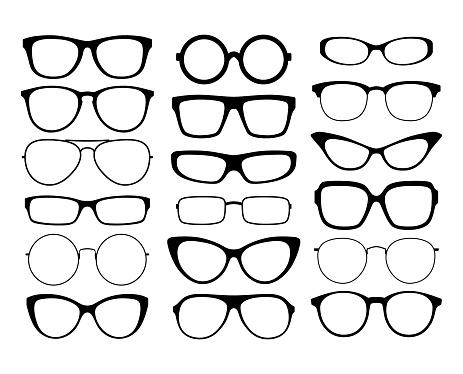 Various black silhouette glasses. Eyeglasses frames set. Sunglasses frames.