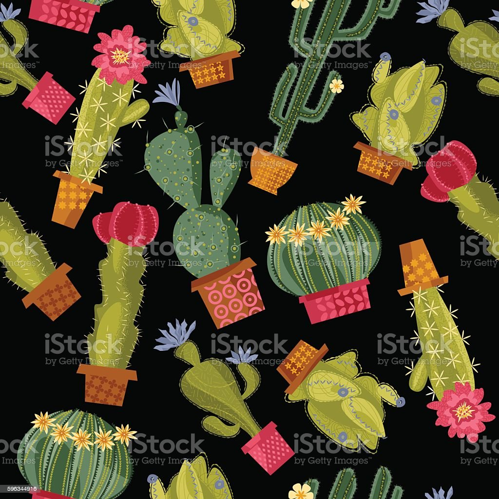 Various blooming cacti. Seamless background pattern. royalty-free various blooming cacti seamless background pattern stock vector art & more images of backgrounds