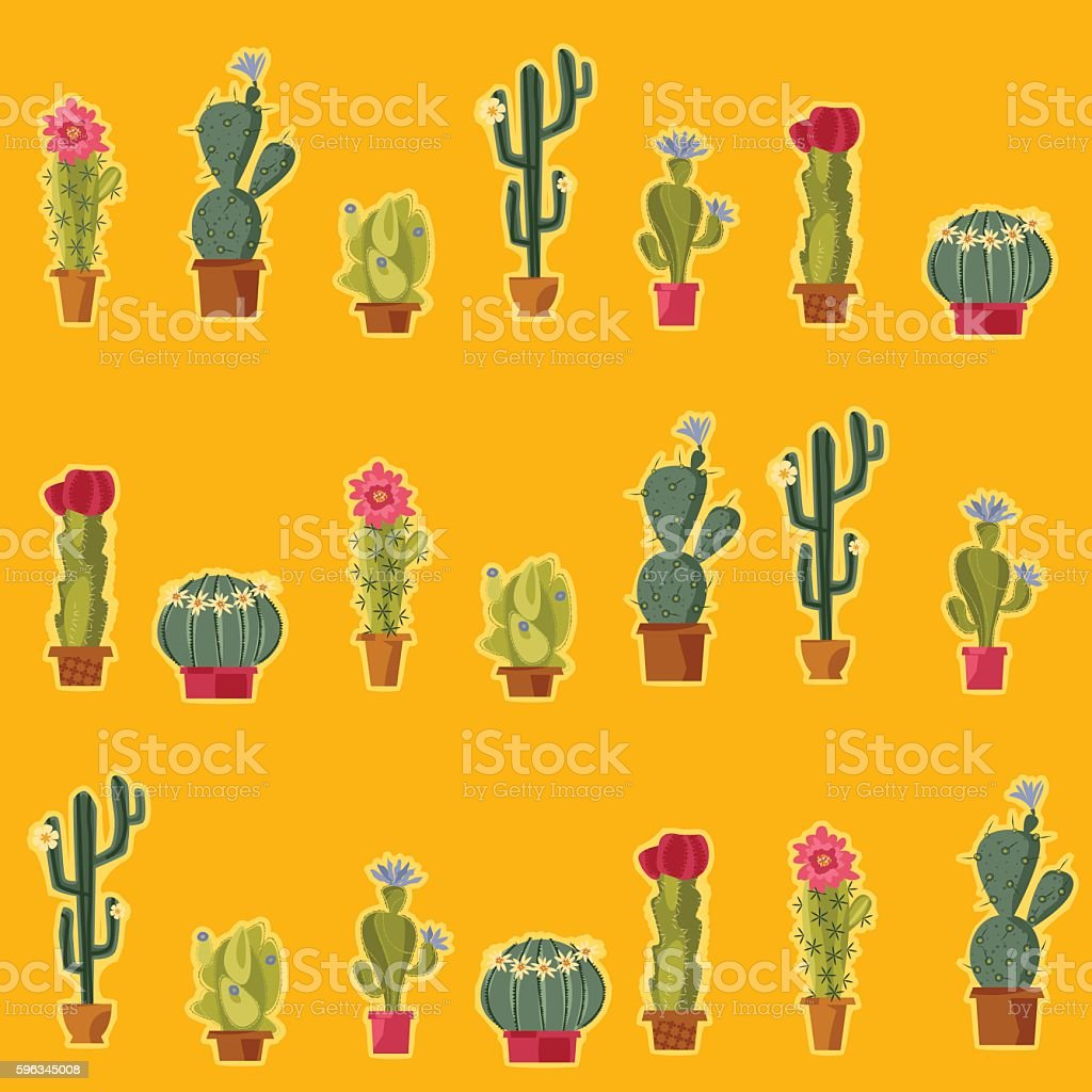 Various blooming cacti. Seamless background pattern. Lizenzfreies various blooming cacti seamless background pattern stock vektor art und mehr bilder von bildhintergrund