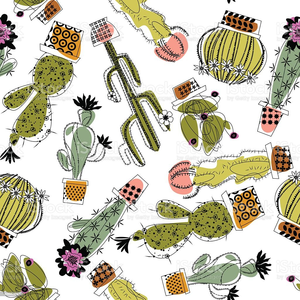 Various blooming cacti. Seamless background pattern. vector art illustration