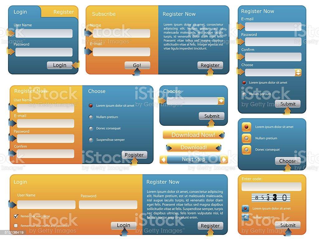 Various blue and orange website form set vector art illustration
