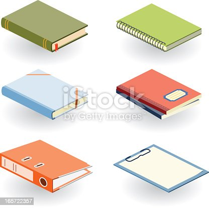 istock Various books and other office supplies in different colors 165722357