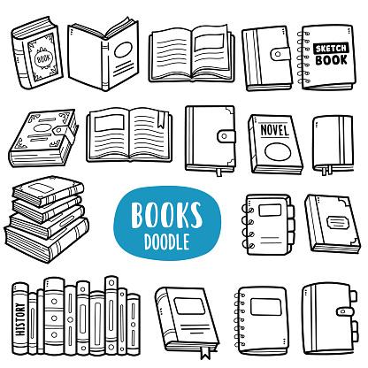 Various Books Doodle Illustration