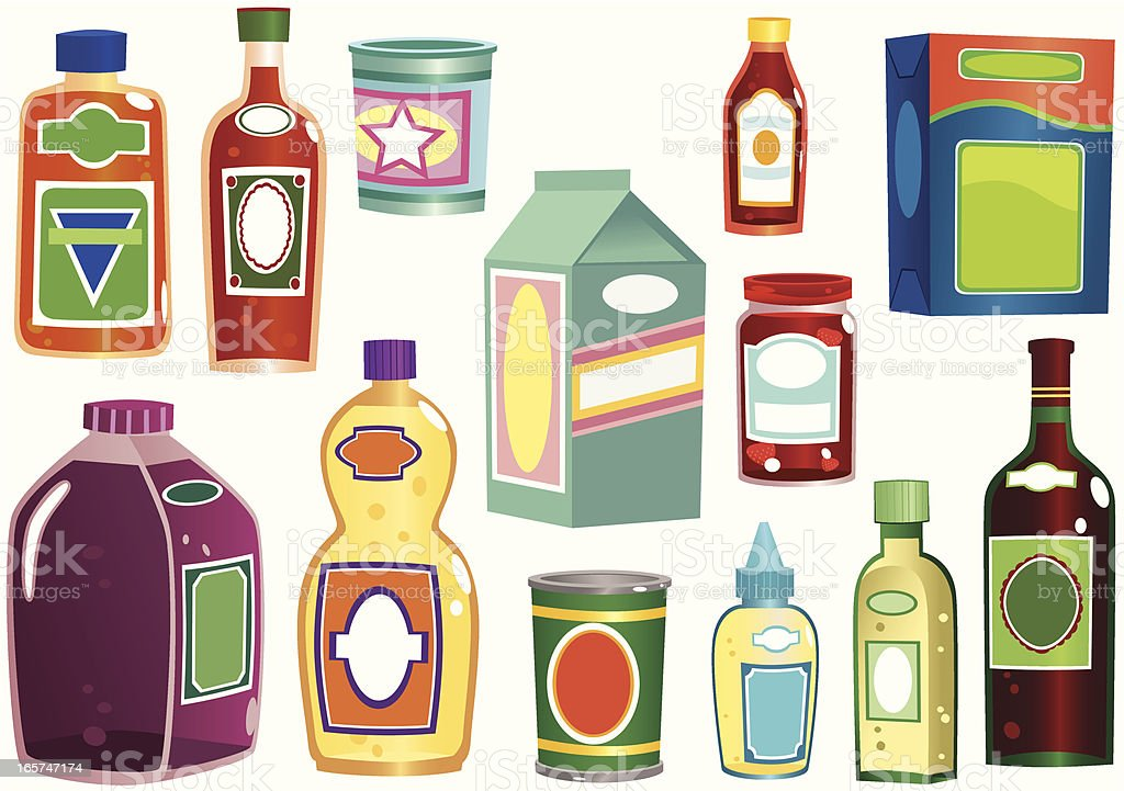 Various bottles and containers royalty-free stock vector art
