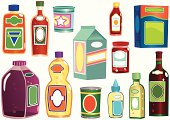 13 different isolated bottles, cans, cartons and boxes for food items. All have blank labels for your own message.
