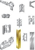 Various brass and steel hinges vector