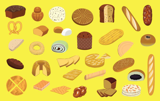 illustrazioni stock, clip art, cartoni animati e icone di tendenza di various bread type set cartoon vector illustration - panettone